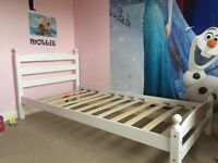 White Wooden Single Bed Frame with Brand New Mattress