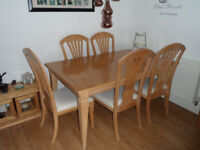 Beech veneered Extending table and Six chairs