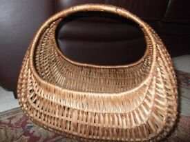 VINTAGE WICKER GONDOLA SHOPPING BASKET