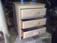 A SMALL , 3 DRAWER CHEST of DRAWERS . ACTUALLY MADE of REAL WOOD, DRAWERS O.K. +++