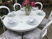 Shabby Chic Extending Dining Table & 6 Silver Grey Crushed Velvet Upholstered Chairs