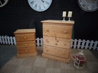 SOLID PINE FARMHOUSE CHEST OF DRAWERS & BEDSIDE CABINET *£60 CHEST OF DRAWERS *£30 BEDSIDE CABINET