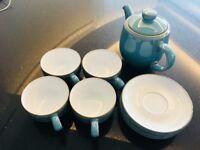Azure Tea pot, cups and saucers