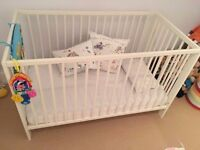 Ikea Cot with Mattress in excellent condition