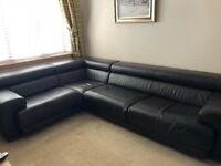 Italian Leather large brown corner sofa with contrast stitching from Sterling