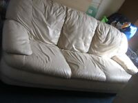 very cheap sofa house clearance cream 3 seater and 2 seater leather sofa good condition