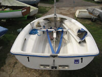 Lark dinghy, launch trolley and galnavised road trailer.