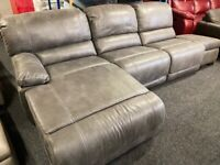 NEW - EX DISPLAY LAZYBOY GREY GUVNOR RECLINER CHAISE CORNER SOFA + FOOTSTOOL 70%Off RRP