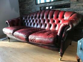 Chesterfield sofa 3 seat, oxblood red, beautiful, condition