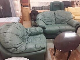 Leather suite green