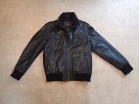 Men's Leather Bomber Jacket - Size Medium