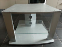 TV Cabinet - Grey Super Sturdy with toughened glass shelf - 63 W x 50L x 48H - collect in Bow