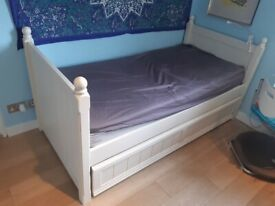 White Trundle Bed-Single from Acespace for sale with 2 Mattrasses