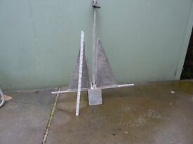 2 BOAT ANCHORS GALVANIZED STEEL GOOD CONDITION