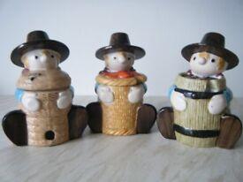 3 Windy Miller Marmalade Pot Jars - Windmill Bakery Camberwick Green.