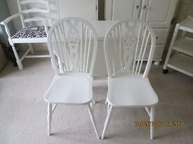 TWO DINING CHAIRS PAINTED LAURA ASHLEY COUNTRY WHITE