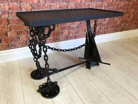Black Metal Industrial Salvage Coffee Table