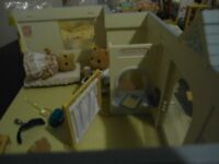 Sylvanian Families Doctor's Clinic with bear family and furniture