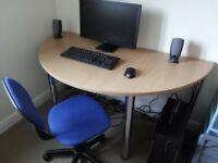 Computer Desk, Laptop, Speakers and Monitor