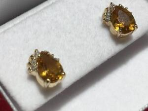 #1418 10K YELLOW GOLD LADIES CITRINE DIAMOND STUD EARRINGS