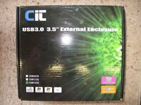 """Unused CIT USB 3.0 3.5"""" External Enclosure for SATA discs"""