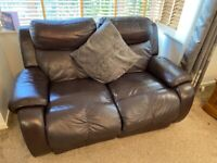 Premium Leather 2 Seater Recliner Brown + Footstool