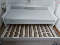 bed, guests bed, 2 singles bed+ 1 mattress ex.condition white
