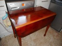 vintage small dark drop leaf table with drawer