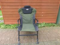 Foldaway fishing trolley, carp chair and tray, zipped pole flat back brolley and 16m pole with bag