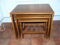 Nest of Three Side Tables or Coffee Tables - Teak 1980s Style