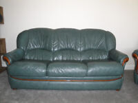 Italian Leather Suite, 3 Seater, Armchair and Swivel Rocker Recliner in Green/Cherry