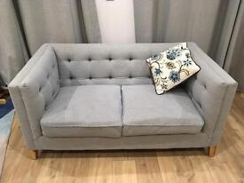 Modern Chesterfield style fabric sofa and armchair in duckegg blue