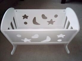 White wooden dolls crib. Great condition.