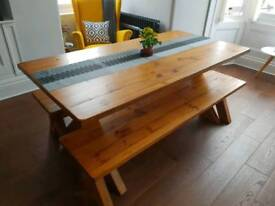 Large Wooden Table with 2x Benches 1800mm x 900mm