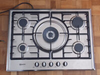 Neff 5 Ring Gas Hob T25S56N0GB Stainless Steel with Cast Iron pan supports