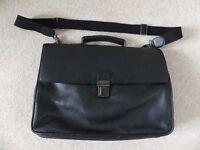 John Lewis black leather briefcase