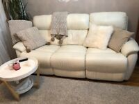 White leather recliner 3 leather sofa- very good condition