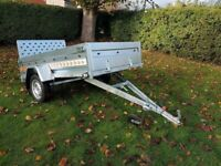 BRAND NEW MODEL 7.7 X 4.2 SINGLE AXLE TRAILER- FLAT TIPPING WITH A RAMP