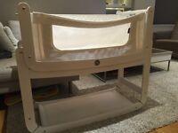 Snuzpod bedside crib + mattress + bedding