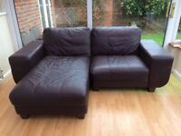 Brown Leather Corner Chaise Sofa
