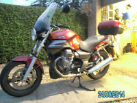 2004 Moto Guzzi Breva 750IE - dark red, good condition with matching top box and tank bag.