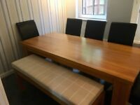 Large oak dining table 8 seater bench chairs