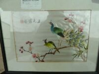 Chines Silk Picture in Glass Frame Delivery Available AW016 £8
