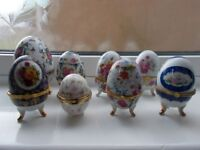 Collection of assorted china eggs