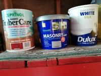 Masonary, Cuprinol and dulux white satin paint