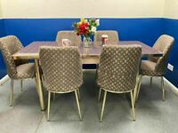 🔥HOT VERSACE DESIGN TABLE AND CHAIRS, EXTENDING GLASS OPTION AND 6 FABRIC CUSHIONED CHAIRS