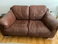 Leather sofas chocolate brown 3 seater and 2 seater