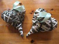 12 x rustic wicker hearts