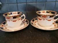 Two vintage Tea Cups and saucers.