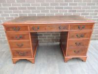 """Large 3 part Unique Burr Leather Top Desk """"Ref 101"""" (UK Delivery)"""